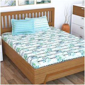 Story@Home Cotton Floral Double Size Bedsheet 186 TC ( 1 Bedsheet With 2 Pillow Covers , Blue )