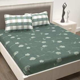 Story@Home Cotton Floral Double Size Bedsheet 186 TC ( 1 Bedsheet With 2 Pillow Covers , Grey )