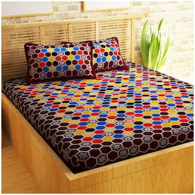 Story@Home 120 3D Printed Flat Double Bedsheet ( Maroon , Pack of 3 )