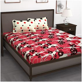 Story@Home Cotton Floral King Size Bedsheet 240 TC ( 1 Bedsheet With 2 Pillow Covers , Red )