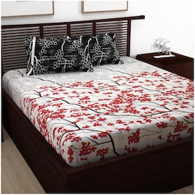 Story@Home Cotton Abstract Double Size Bedsheet 120 TC ( 1 Bedsheet With 2 Pillow Covers , Red )