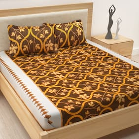 Story@Home Cotton Floral Double Size Bedsheet 186 TC ( 1 Bedsheet With 2 Pillow Covers , Brown )