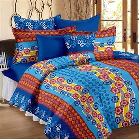 Story@Home Maple Collection 144 TC 100% Cotton Blue 1 Double Bedsheet With 2 Pillow Cover