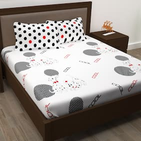 Story@Home Cotton Abstract Double Size Bedsheet 186 TC ( 1 Bedsheet With 2 Pillow Covers , White )