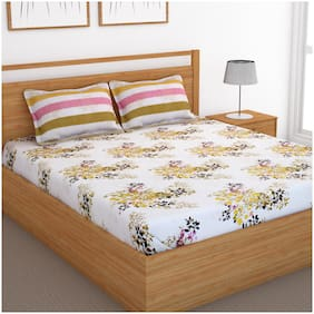 Bedspun Cotton Floral Double Size Bedsheet 120 TC ( 1 Bedsheet With 2 Pillow Covers , Pink )