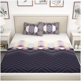 Story@Home Cotton Abstract King Size Bedsheet 210 TC ( 1 Bedsheet With 2 Pillow Covers , Grey )