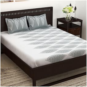 Story@Home Cotton Geometric King Size Bedsheet 152 TC ( 1 Bedsheet With 2 Pillow Covers , Grey )