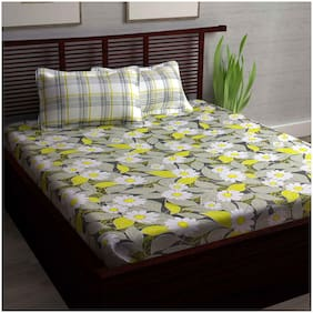 Story@Home 186 TC 1 Pc Double Bedsheet With 2 Pillow Covers