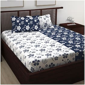 Story@Home 120 Floral Flat Double Bedsheet ( Blue , Pack of 3 )