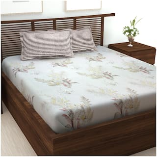 Story@Home Cotton Floral King Size Bedsheet 186 TC ( 1 Bedsheet With 2 Pillow Covers , Brown )