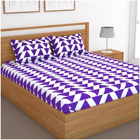 Bedspun Cotton Abstract Double Size Bedsheet 120 TC ( 1 Bedsheet With 2 Pillow Covers , Purple )