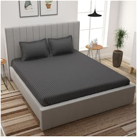 Story@Home Cotton Striped King Size Bedsheet 300 TC ( 1 Bedsheet With 2 Pillow Covers , Grey )