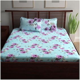 Story@Home Cotton Floral Double Size Bedsheet 120 TC ( 1 Bedsheet With 2 Pillow Covers , Blue )