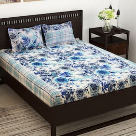 Story@Home Cotton Floral Double Size Bedsheet 152 TC ( 1 Bedsheet With 2 Pillow Covers , Blue )