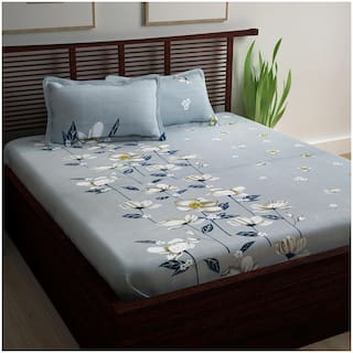 Story@Home Cotton Floral Double Size Bedsheet 240 TC ( 1 Bedsheet With 2 Pillow Covers , Grey )