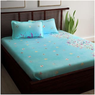 Story@Home Cotton Floral King Size Bedsheet 240 TC ( 1 Bedsheet With 2 Pillow Covers , Blue )
