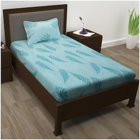 Story@Home Cotton Floral Single Size Bedsheet 208 TC ( 1 Bedsheet With 1 Pillow Covers , Blue )