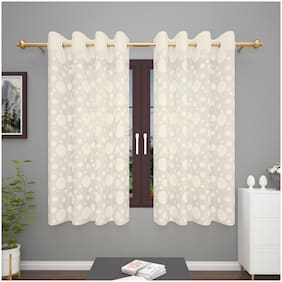 Story@Home Polyester Window Semi Transparent Beige Sheer Curtain ( Eyelet Closure , Polka Dot )