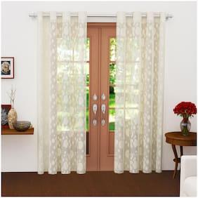 Story@Home Polyester Long Door Semi Transparent Beige Sheer Curtain ( Eyelet Closure , Polka Dot , Pack of 2 )