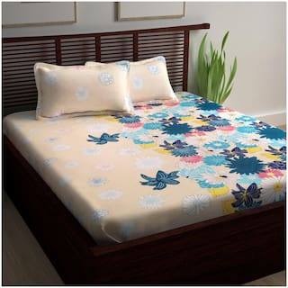 Story@Home Cotton Floral King Size Bedsheet 240 TC ( 1 Bedsheet With 2 Pillow Covers , Multi )