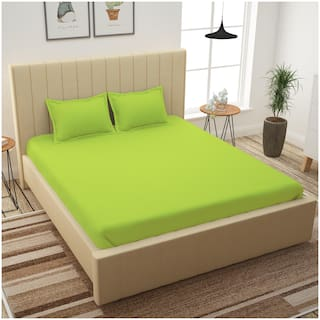 Story@Home Cotton Solid King Size Bedsheet 210 TC ( 1 Bedsheet With 2 Pillow Covers , Green )