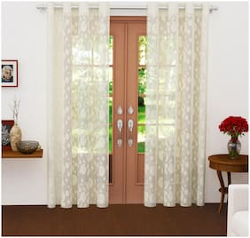 Story@Home Polyester Door Semi Transparent Beige Sheer Curtain ( Eyelet Closure , Polka Dot )