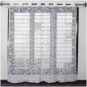 Story@Home Polyester Window Semi Transparent White Sheer Curtain ( Eyelet Closure , Abstract , Pack of 2 )