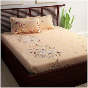 Story@Home Cotton Floral King Size Bedsheet 240 TC ( 1 Bedsheet With 2 Pillow Covers , Orange )