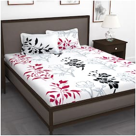Story@Home Cotton Floral King Size Bedsheet 240 TC ( 1 Bedsheet With 2 Pillow Covers , White )