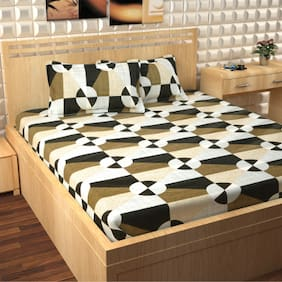Story@Home Cotton Abstract Double Size Bedsheet 300 TC ( 1 Bedsheet With 2 Pillow Covers , Black )