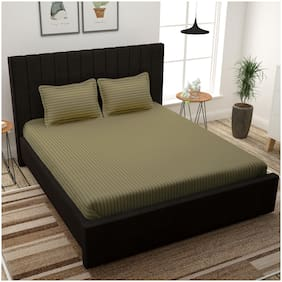 Story@Home Cotton Striped King Size Bedsheet 300 TC ( 1 Bedsheet With 2 Pillow Covers , Brown )