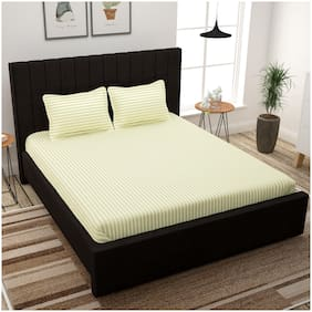 Story@Home Cotton Striped King Size Bedsheet 300 TC ( 1 Bedsheet With 2 Pillow Covers , Beige )
