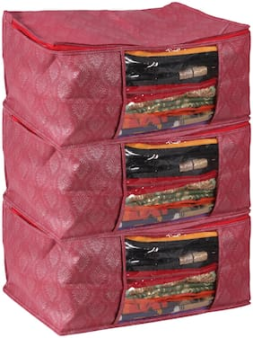 Story@Home 3 Pcs Of Designer Non woven Saree Bag Wardrobe Organizer Saree Covers