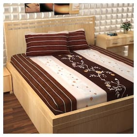 Story@Home Cotton Floral Double Size Bedsheet 300 TC ( 1 Bedsheet With 2 Pillow Covers , Brown )