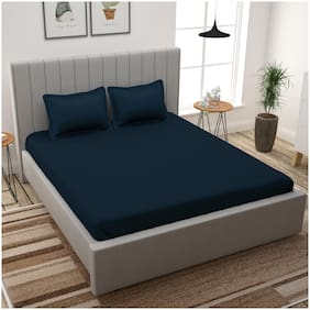 Story@Home Cotton Solid King Size Bedsheet 300 TC ( 1 Bedsheet With 2 Pillow Covers , Blue )