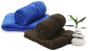 Story@Home 450 GSM Cotton Hand Towel ( 4 Pieces , Brown & Blue )