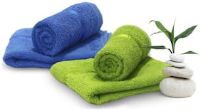 Story@Home 450 GSM Cotton Hand Towel ( 4 Pieces , Green & Blue )