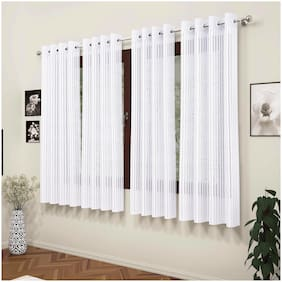 Story@Home Polyester Window Semi Transparent White Sheer Curtain ( Eyelet Closure , Striped , Pack of 4 )