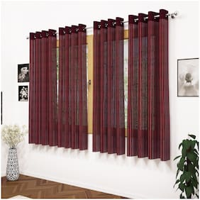Story@Home Polyester Window Semi Transparent Brown Sheer Curtain ( Eyelet Closure , Striped , Pack of 4 )