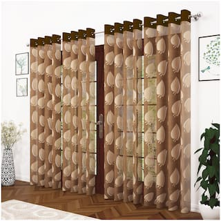Story@Home Polyester Door Semi Transparent Brown Sheer Curtain ( Eyelet Closure , Abstract , Pack of 4 )