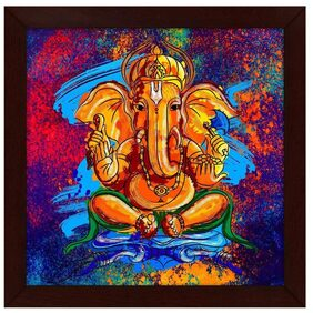 Story@Home 'Ganesha' Framed Wall Art Frame Painting (Wood;30 cm x 3 cm x 30 cm)
