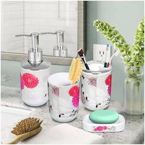 Story Home Bathroom Accessory (Set Bathroom Suit Accessories Include Cup Toothbrush Holder Soap Dish Dispenser Shampoo Press Bottle Bath Accessories) Set Of 4