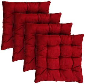 Story@Home Best price 4 pc Combo Square Chair Pad Seat Cushion Car Pad Office Chair Pad Stool Cushion Corduroy Chair Pad 14 inch X 14 Inch- Maroon