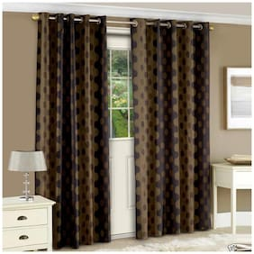 Story@Home Polyester Door Semi Transparent Brown Regular Curtain ( Eyelet Closure , Abstract )