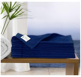 Story@Home 450 GSM Cotton Face Towel ( Pack of 10 , Blue )