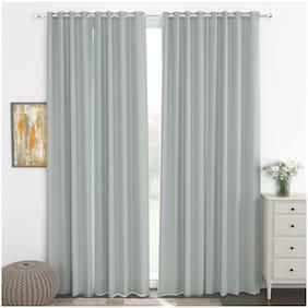 Story@Home Faux Silk Door Blackout Grey Room Darkening Curtain ( Eyelet Closure , Plain , Pack of 4 )