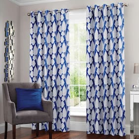 Story@Home Polyester Door Semi Transparent Blue Regular Curtain ( Eyelet Closure , Floral )
