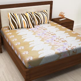 Story@Home Cotton Floral Double Size Bedsheet 186 TC ( 1 Bedsheet With 2 Pillow Covers , Cream )