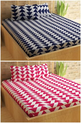 Story@home Candy Set of 2 double bedsheet with 4 Pillow Covers