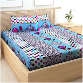 Story@Home Cotton Printed Double Size Bedsheet 152 TC ( 1 Bedsheet With 2 Pillow Covers , Multi )